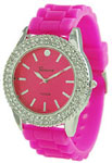 Silicone CZ Jelly Rubber Strap Watch - Hot Pink