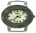 Turtle Shell Oval Solid Bar Watch Face - Grey