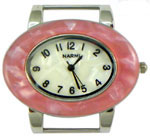 Turtle Shell Oval Solid Bar Watch Face - Pink