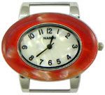 Turtle Shell Oval Solid Bar Watch Face - Red