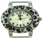 Turtle Shell Oval Solid Bar Watch Face - White Cheeta